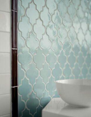 Art deco style moroccan tile bathroom for Blue moroccan tile backsplash