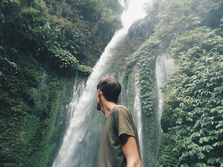 when i took this photo for him  #sendanggilewaterfall #waterfall #waterfalls #senggigi #lombok #indonesia #motorbike #travel #travelgram #backpacking #thisismycartoonctlife