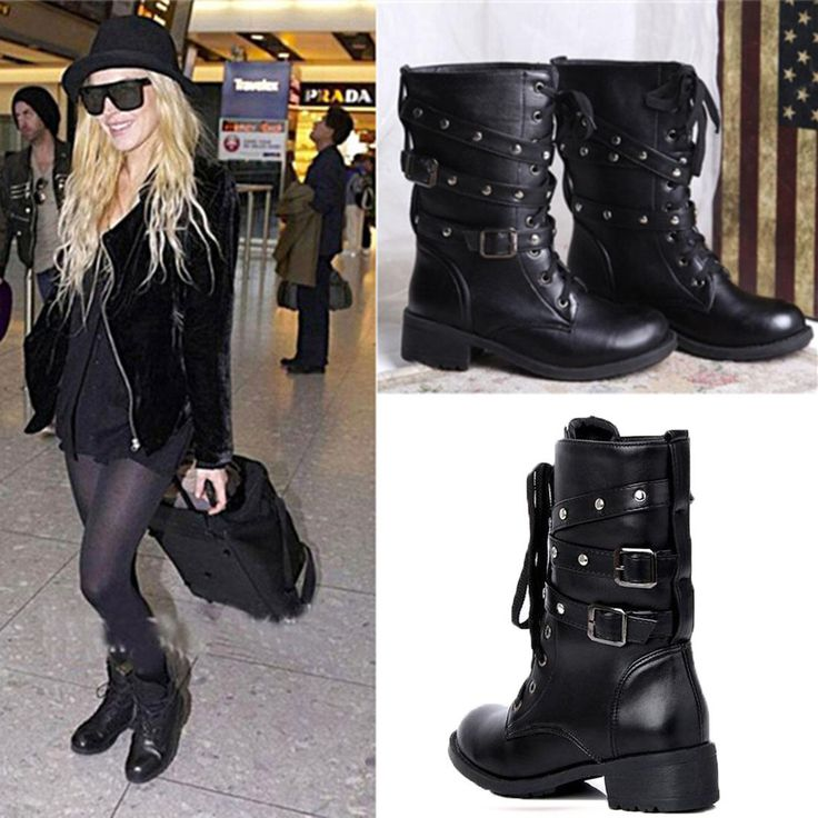Women Fashion Lace-Up Ankle Military Boots Army Combat Black Punk Chunky Shoes