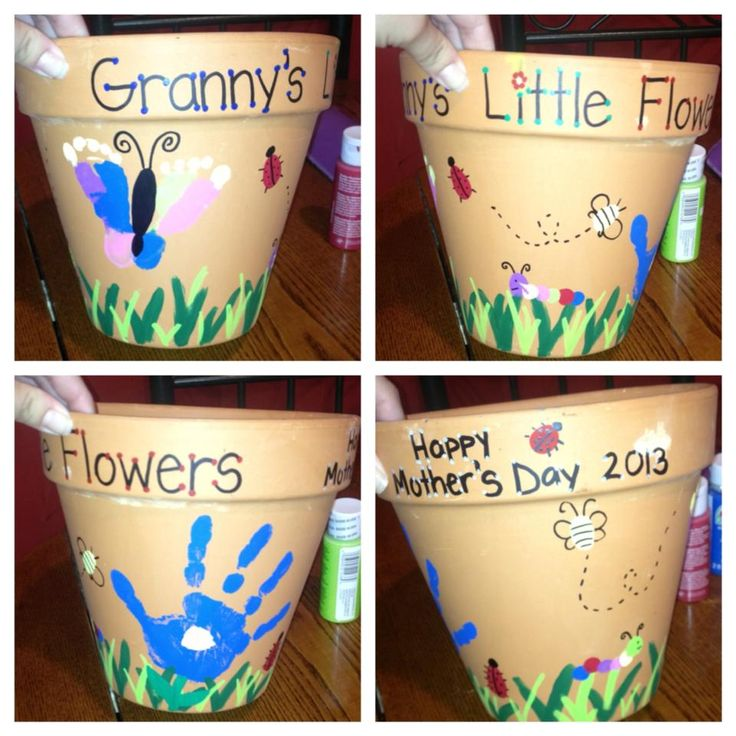 Mother's Day gift we did for my mom this year. All of the bugs and caterpillars are my son's fingers, the butterfly is my 2 month old daughter's feet and the hand flower is also my son's!! It was a lot of fun to make and so easy.. The letters are written in paint pens. Hope you enjoy we did!!