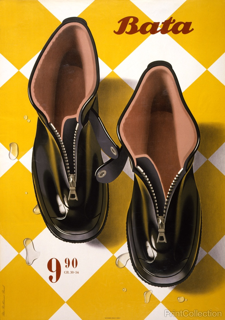 Bata Advertisment from 1947 by Peter Birkhaüser, Basel. Published in Zurich by Wolfsberg-Druck as a color lithograph at 128.3 x 90.5 cm. Advertising poster for Bata Shoe Company showing a pair of rubber boots.