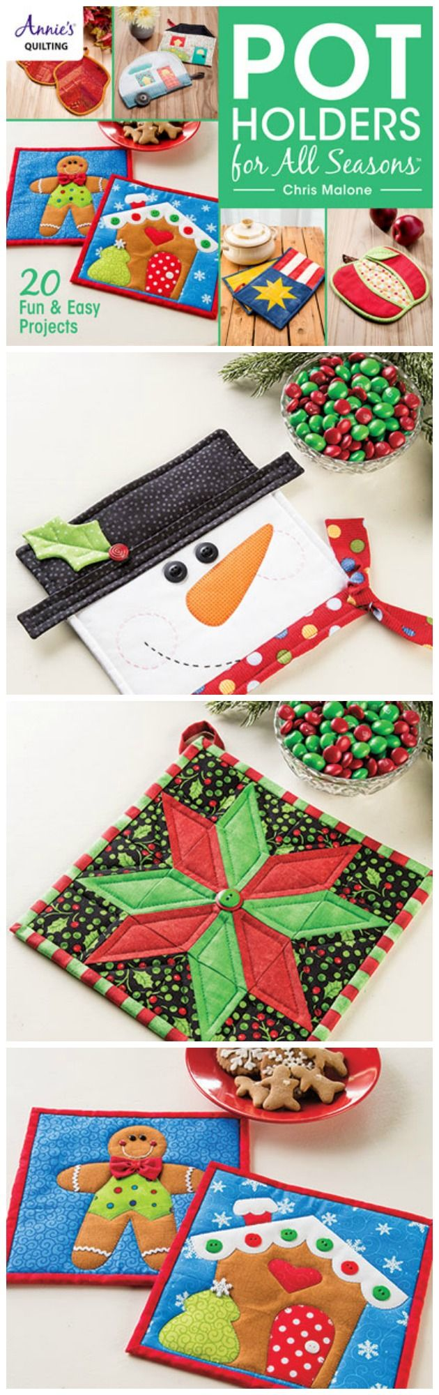 2- potholder sewing patterns.  Love these Christmas ones.  Great ideas to sew for gifts and stocking stuffers.