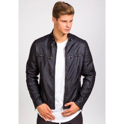 Krátka pánska koženková bunda bez kapucne čierna - fashionday.eu