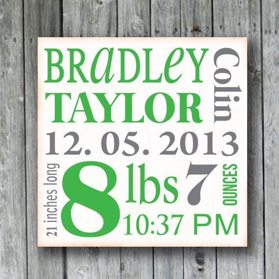 Personalized Baby Birth Information Sign,Baby Birth Announcement,Nursery Art Decor for Baby,Baby Shower,New Mom Gift,Custom Wood Sign,Child on Etsy, $32.00