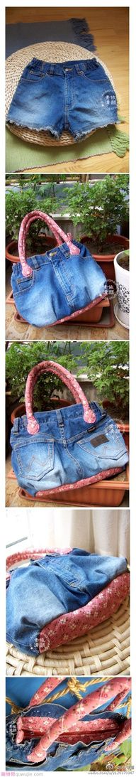denim blue jeans repurposed into a handbag purse