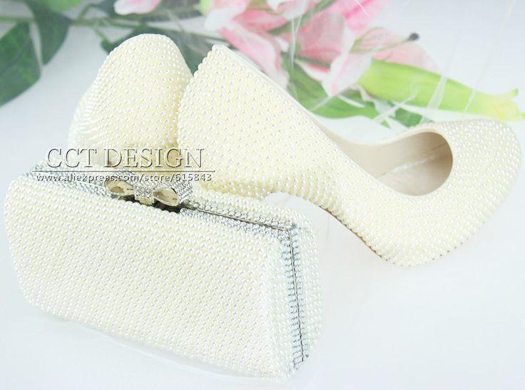 Хрустальные башмачки свадебные туфли и соответствующие клатч перл свадебная обувь элегантный ручной женская обувь замуж белый высокой - каблуки