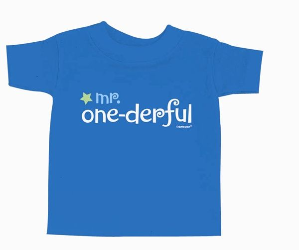Deck out your guest of honor with our First Birthday Boy Cotton T-shirt. Featuring the text �mr. one-derful�, this t-shirt is suggested for sizes 3 - 18 months. Check out our matching �mr. one-derful� bib and baseball cap for the perfect birthday gear! 1 per package.