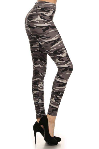 Combat Christian Grey - camo leggings, grey camouflage.