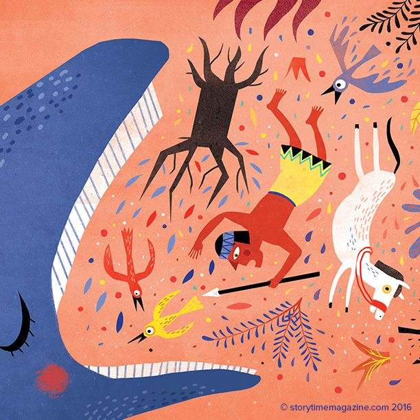 A magnificent walking whale – Patagonian legend, illustrated by Mariana Ruiz Johnson (http://marianarj.blogspot.co.uk) for Storytime Issue 23! ~ STORYTIMEMAGAZINE.COM