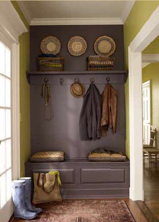 For the laundry room/mud room?  Benjamin Moore Vintage Wine and Wasabi