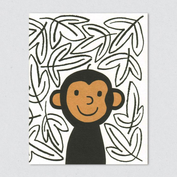 lisa jones studio recycled greeting card, illustration of cheeky monkey in leaf patterned jungle