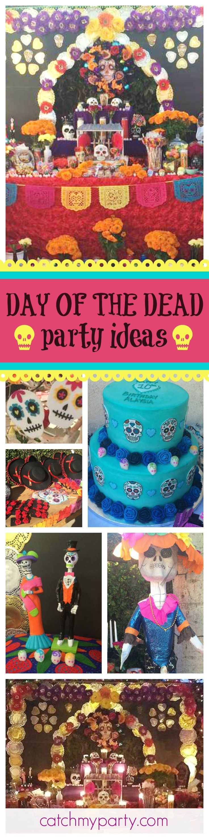 check out this awesome day of the dead themed halloween party the colorful decorations are