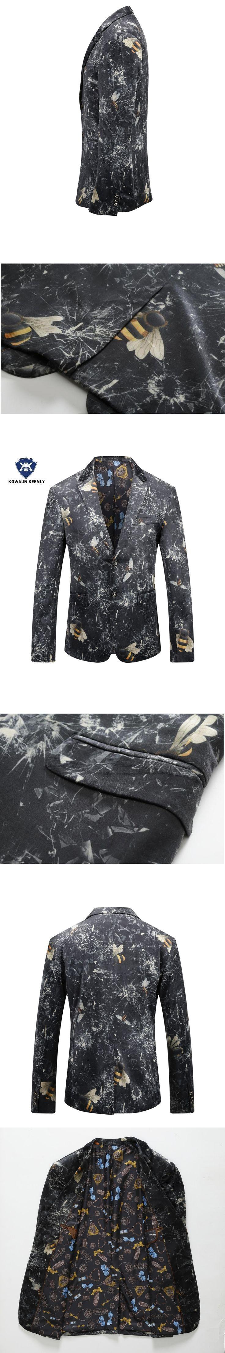 Men Blazer 2017 Autumn Stylish Men Velvet Blazer Slim Fit Casual Suit Jacket Coat Animal Printed Design Party Prom Floral Blazer