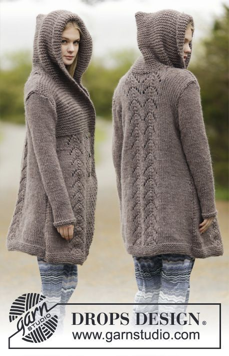"#DROPSDesign jacket in garter st, double seed st and lace pattern with hood in ""Eskimo"". #knitting #aw1516"
