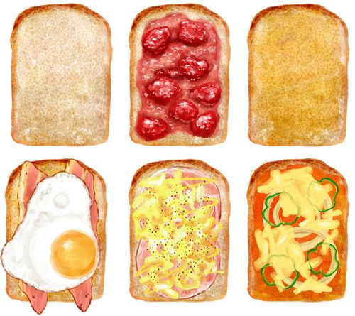Toast w/ toppings ~ illustration