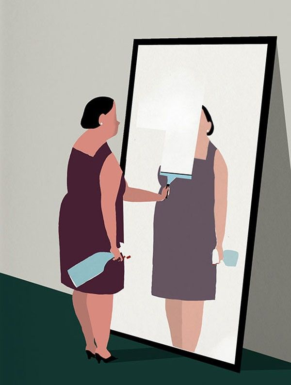 Editorial illustration by Riki Blanco for an article about self esteem - Peso Perfecto Magazine, 2012.