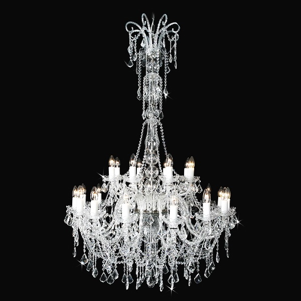 Beautiful large crystal chandelier with swarovski glass trimmings and with polished brass nickel finishing; Diameter 39″; height 59″; weight 9.8lb; Wattage 24 x 40W #swarovski #chandelier