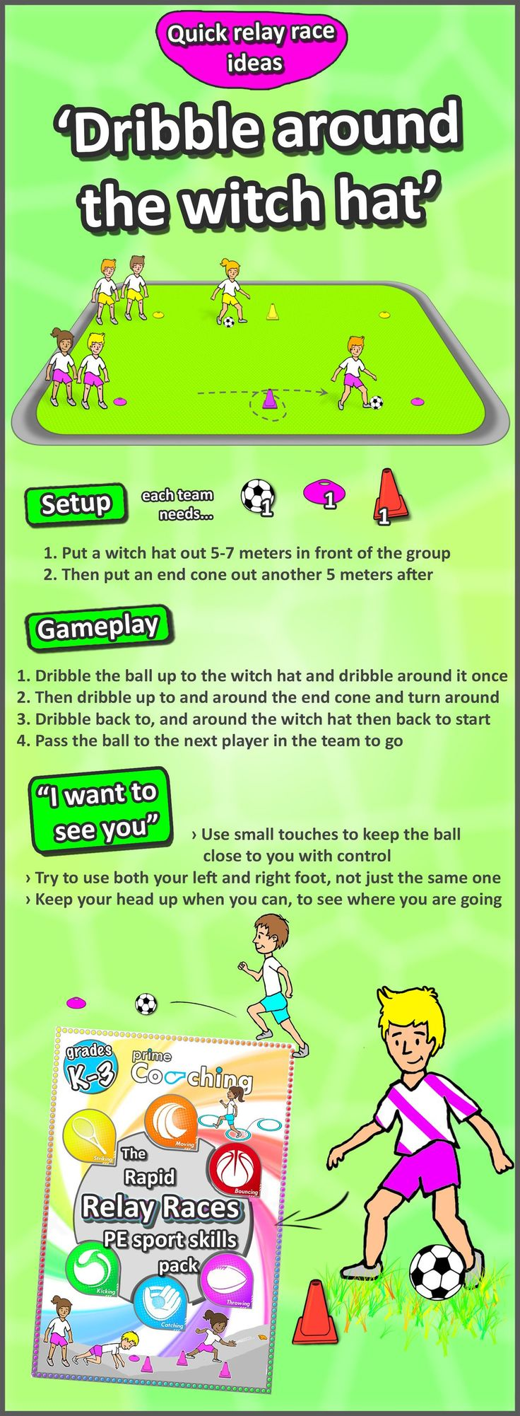 • Soccer dribbling • A fun really race idea to develop soccer skills with your students, check out loads more PE teaching activities here!! Get the best tips on how to increase your vertical jump here: