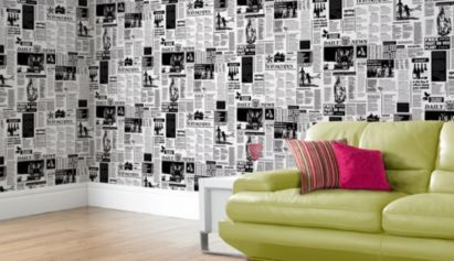 Newspaper wallpaper in black and white by a s creation for the home