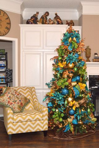 Peacock Christmas Tree Shades Of Turquoise Greens And Gold Perfect To Match Your