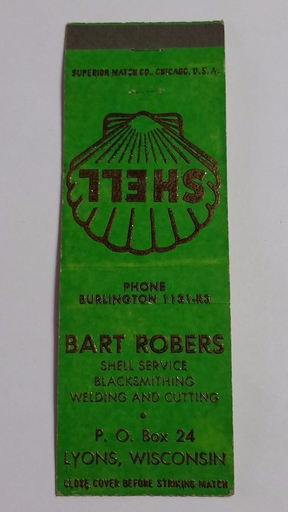 BART ROBERS SHELL SERVICE LYONS WISCONSIN Matchbook Matchcover