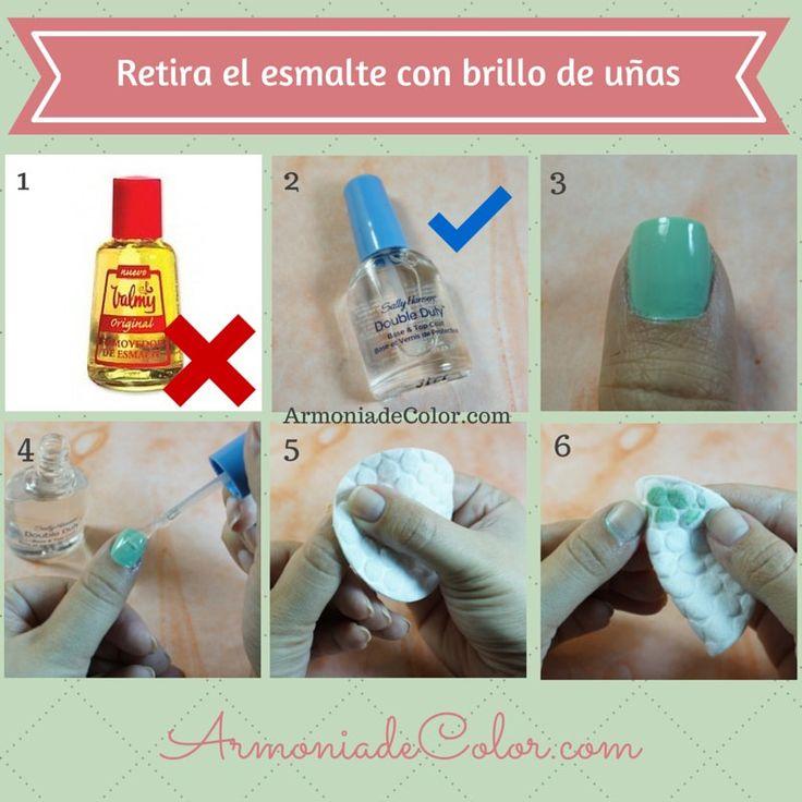 Cómo retirar el esmalte o laca de uñas sin removedor de esmalte especial: 1) ¿No consigues acetona? 2) No te preocupes, busca el brillo o esmalte transparente de tu preferencia 3) En la uña pintada 4) Aplica una capa de brillo 5) Sin dejar que seque, haz presión con el algodón sobre la uña para retirar el esmalte 6) Y listo! Uñas limpias en segundos  #manicure   #tipsdebelleza   #esmaltedeuñas