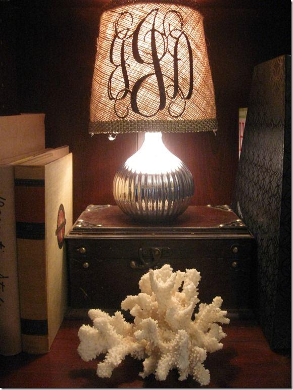 Monogram and Burlap Lamp Shade--