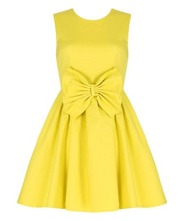 Look at this #zulilyfind! Yellow Bow-Accent A-Line Dress #zulilyfinds
