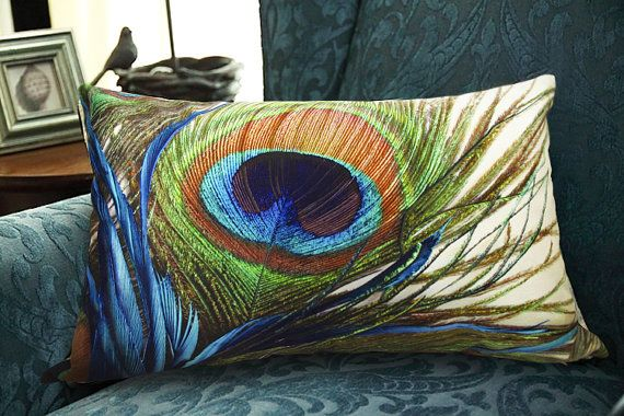 PROMOTION Velvet Pillow Cover Peacock feather pillow cover Decorative throw pillow cushion cover double sides design optional sizes