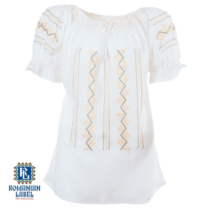 $78.38 A 100% hand made traditional blouse, exclusively tailored out of natural materials, such as white cotton, gold and green silk embroidery.