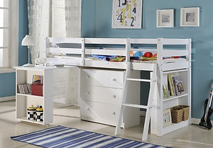 Cabin Bed with Desk White Chest of Drawers Dylan Mid Sleeper   eBay-#1