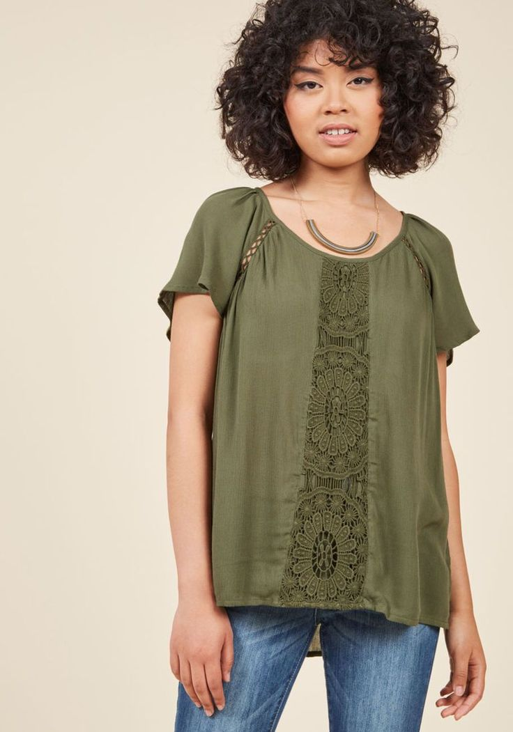 Park! Who Goes There? Top in Olive in S - Short Sleeve A-line Waist by ModCloth - Plus Sizes Available