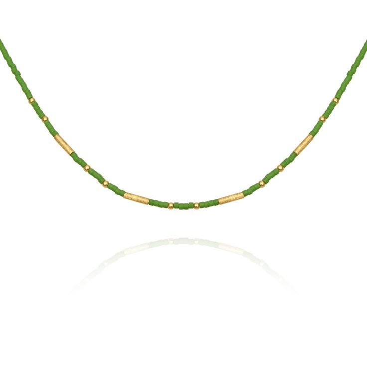 TEMPLE OF THE SUN JEWELLERY BYRON BAY - Seed Bead Necklace with Gold Matt Green, $99.00 (http://www.templeofthesun.com.au/seed-bead-necklace-with-gold-matt-green/)