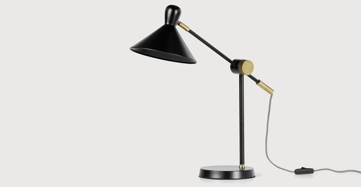 Ogilvy Task Table Lamp, Matt Black and Antique Brass £59