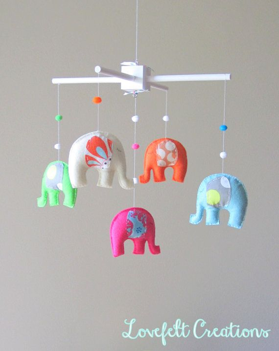 Baby Mobile  Crib Mobile  Elephant Mobile  Nursery by LoveFeltXoXo, $100.00