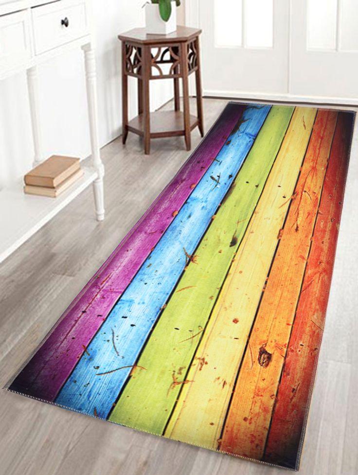 Rainbow Wood Grain Print Skidproof Bathroom Rug