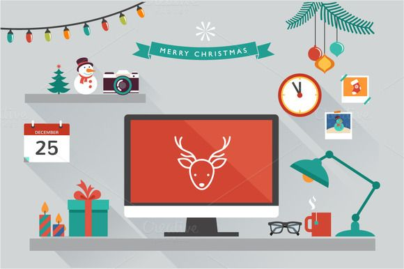 Christmas desktop with flat icons by Marish on Creative Market