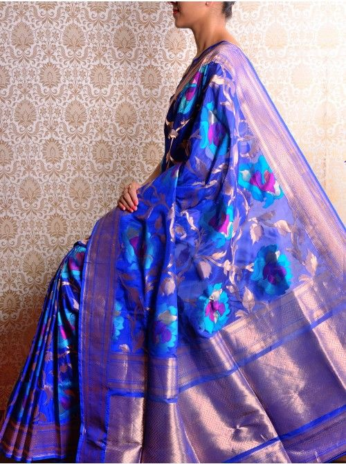 Royal Blue Brocade Saree
