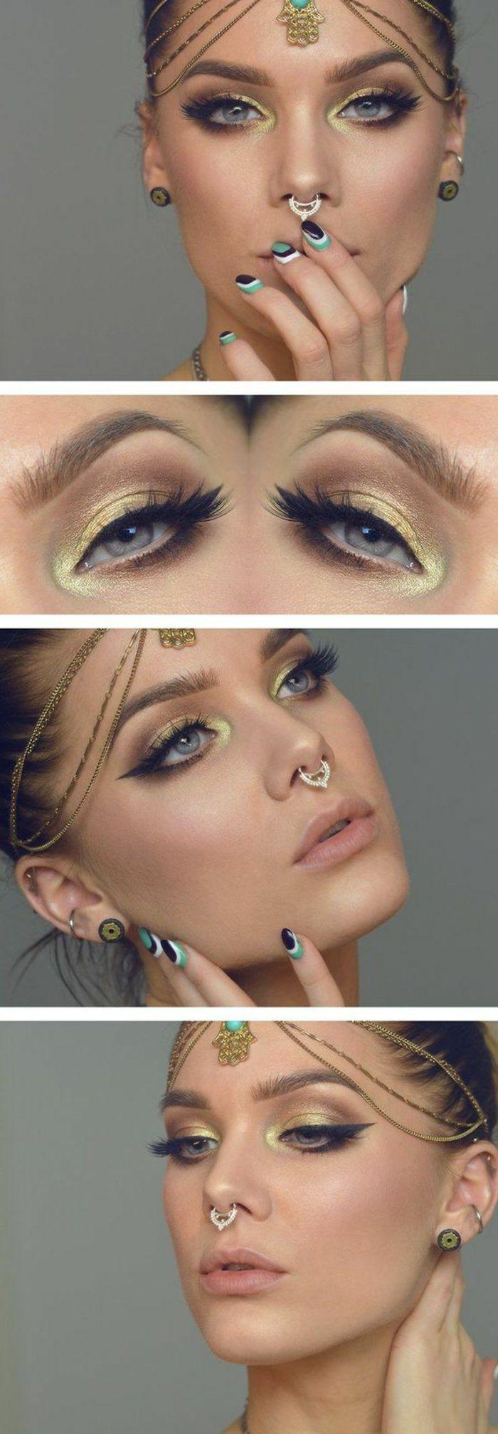 idée maquillage style bollywood, nuances dorés sur yeux bleus