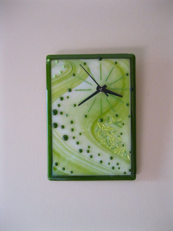9.75 x 7.5 Fused Glass Clock Quartz Movement by RockinMosaics