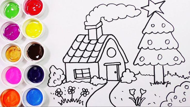 Como Dibujar y Colorear Una Casa con Arbol de Pino - Dibujos Para Niños ...