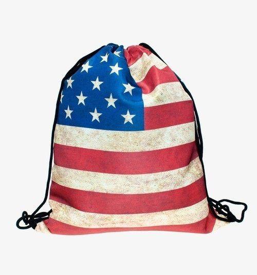 Travel School Girl Teenage US flag Emoji Design Drawstring Bag Woman Backpack #Unbranded #Backpack