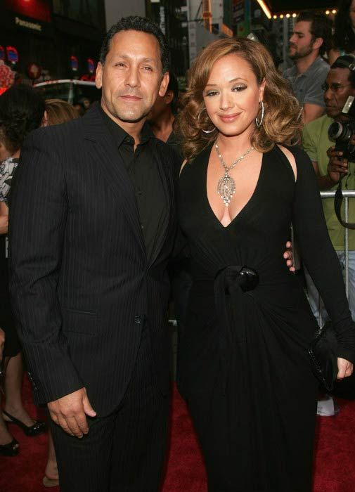 Leah Remini and her husband Angelo Pagan at the 'El Cantante' premiere in July 2007...