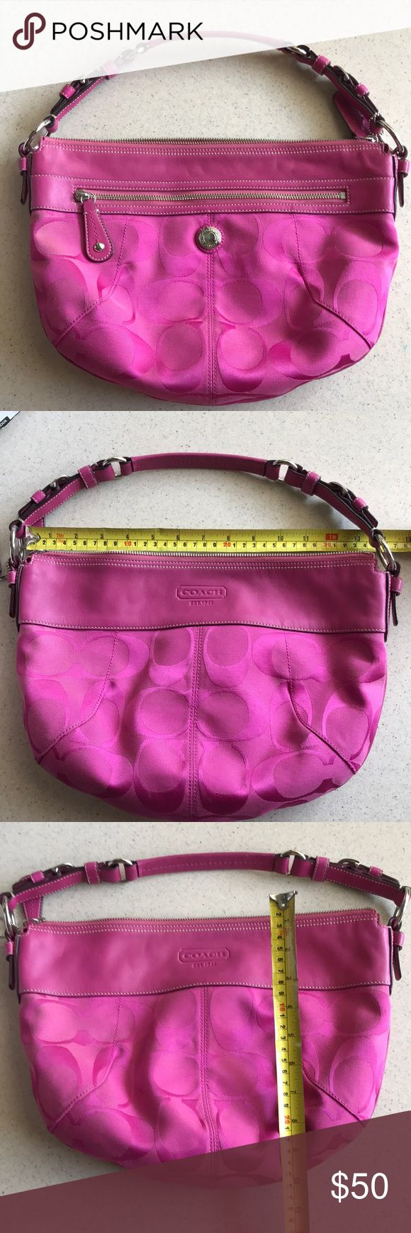 GUC Hot Pink Coach Purse Super cute over the shoulder bag. Genuine coach purse. Coach logo material in hot pink or raspberry color. Leather handle in perfect condition. Minor wear inside and outside. A little TLC could help. Outside zipper pocket and zipper to close. Inside zipper pocket and two open pockets. Feel free to make a reasonable offer. Not sure what's reasonable? Check out the chart at the top of my closet ☺️ Coach Bags Hobos