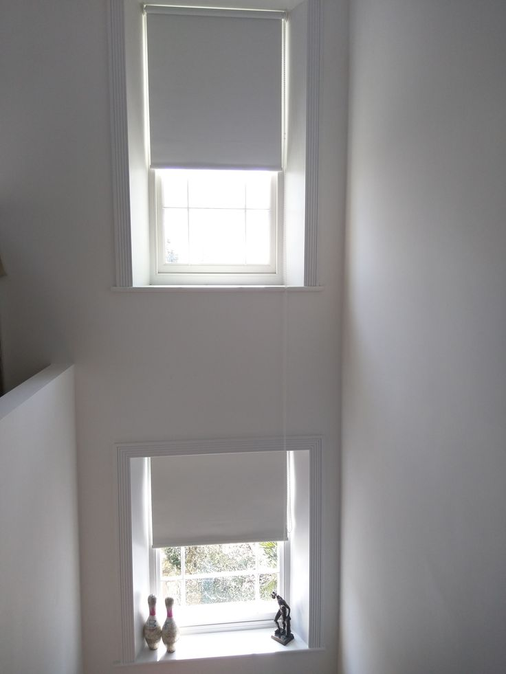 Blackout Roller Blinds On Staircase Sash Windows Made To