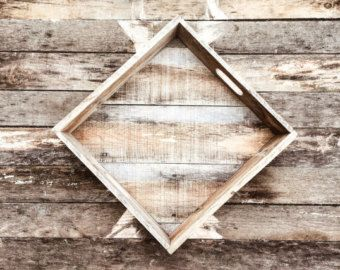 Weathered Reclaimed Wood Serving Tray Pallet by TheWoodGarageLLC
