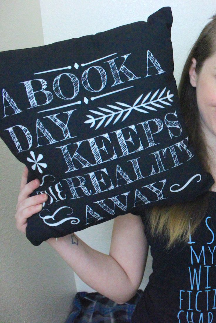 A book a day keeps the reality away... oh, so true. Don't mind us, we'll just be stuffing our face into this book, and then into this pillow when our favorite character dies. *cries* Find more fandom designs over at Redbubble.com!