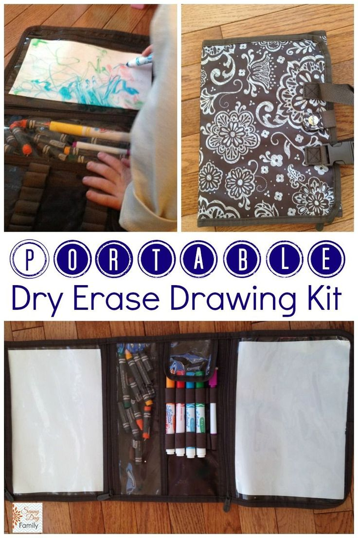 Make a portable dry erase drawing kit for kids using a Timeless Beauty Bag from Thirty One! Perfect for travel, waiting rooms, restaurants - anywhere you need a quiet, screen free activity!