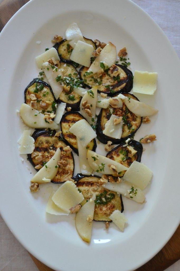 Grilled Eggplant, Pear, and Pecorino Salad
