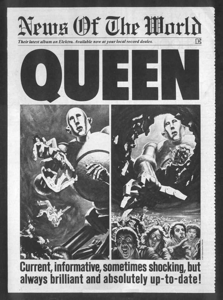 Queen : News of the World (1977), advert; art by Frank Kelly Freas